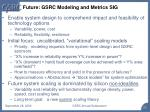 future gsrc modeling and metrics sig