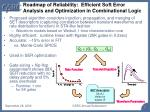 roadmap of reliability efficient soft error analysis and optimization in combinational logic