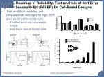 roadmap of reliability fast analysis of soft error susceptibility faser for cell based designs