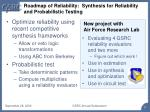 roadmap of reliability synthesis for reliability and probabilistic testing