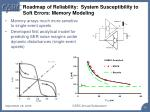 roadmap of reliability system susceptibility to soft errors memory modeling