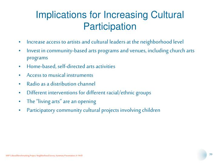 Implications for Increasing Cultural Participation