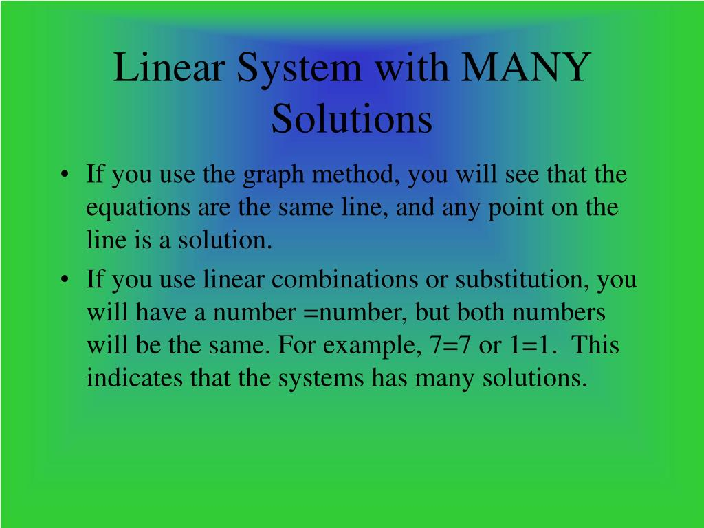 Linear System with MANY Solutions
