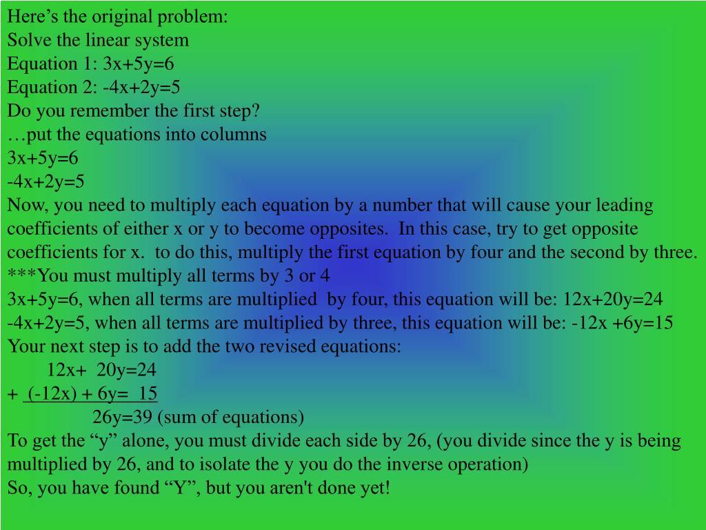 Here's the original problem: