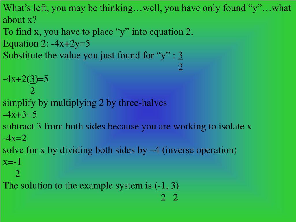 """What's left, you may be thinking…well, you have only found """"y""""…what about x?"""