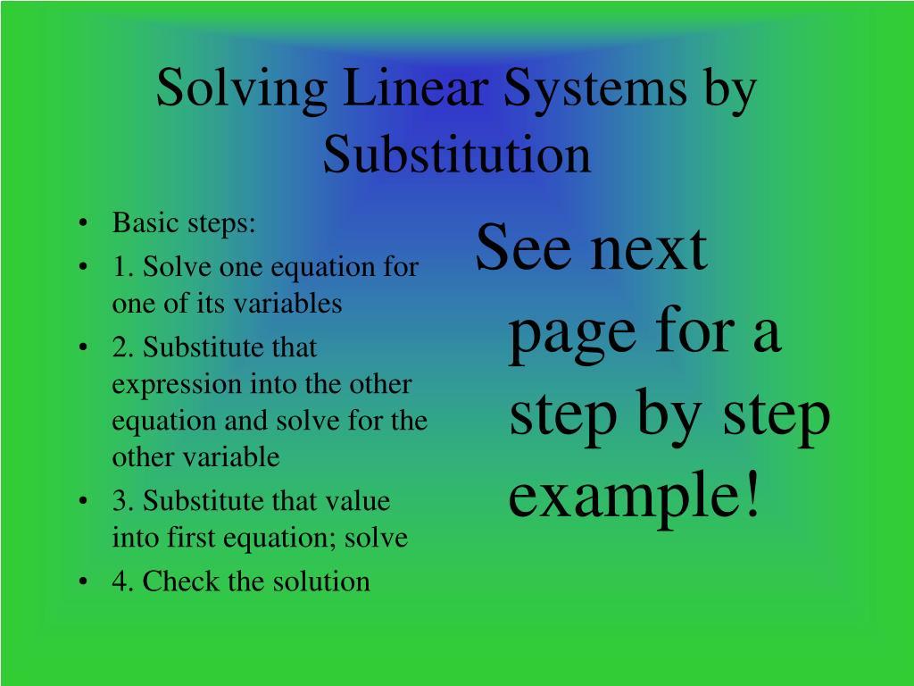 Basic steps: