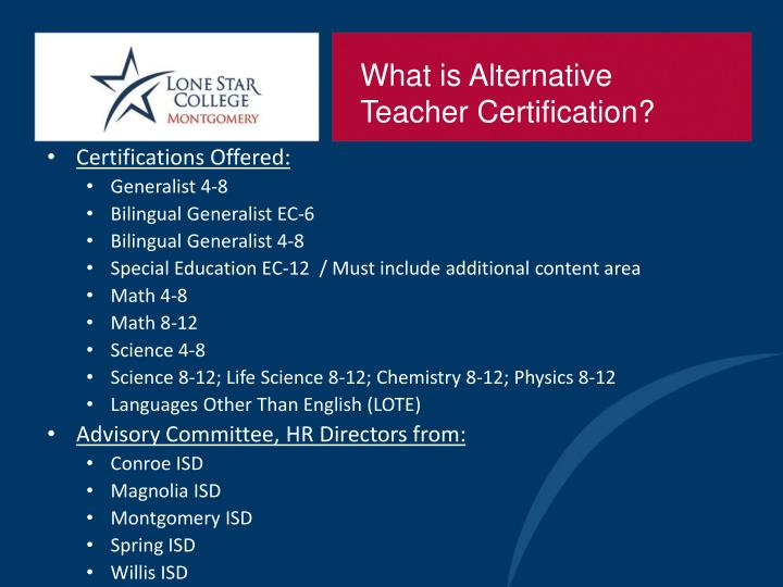 What is Alternative Teacher Certification?
