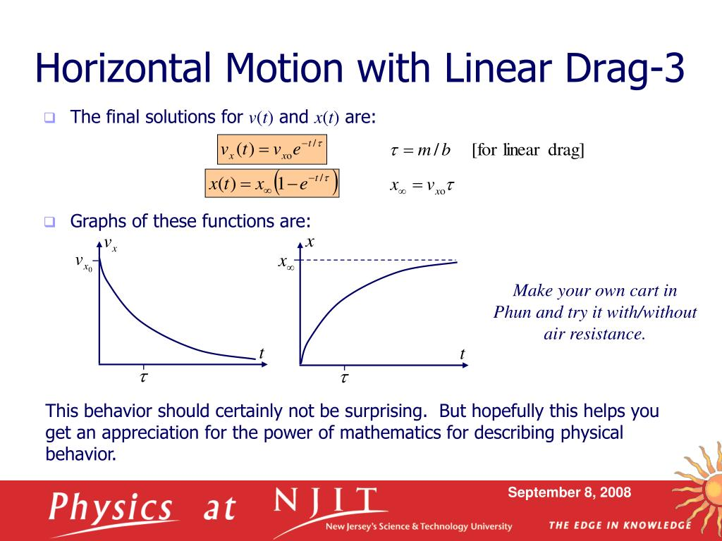 PPT - Physics 430: Lecture 3 Linear Air Resistance PowerPoint