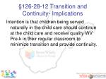 126 28 12 transition and continuity implications