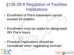 126 28 9 regulation of facilities implications