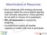 maximization of resources