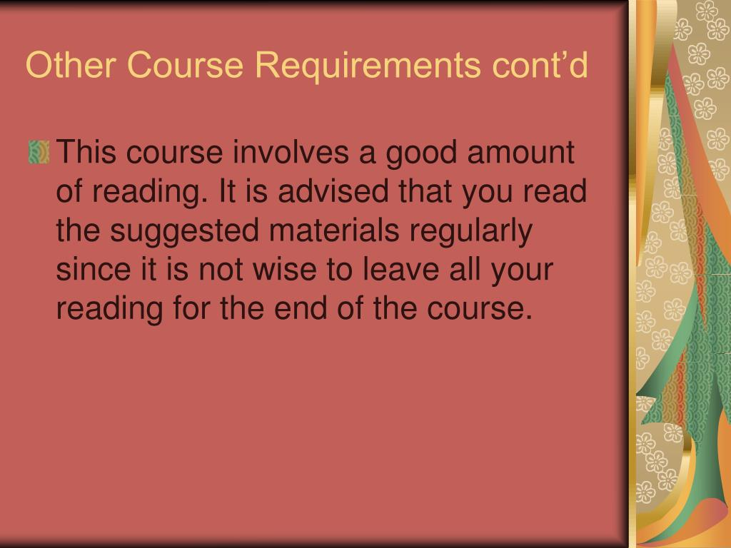 Other Course Requirements cont'd