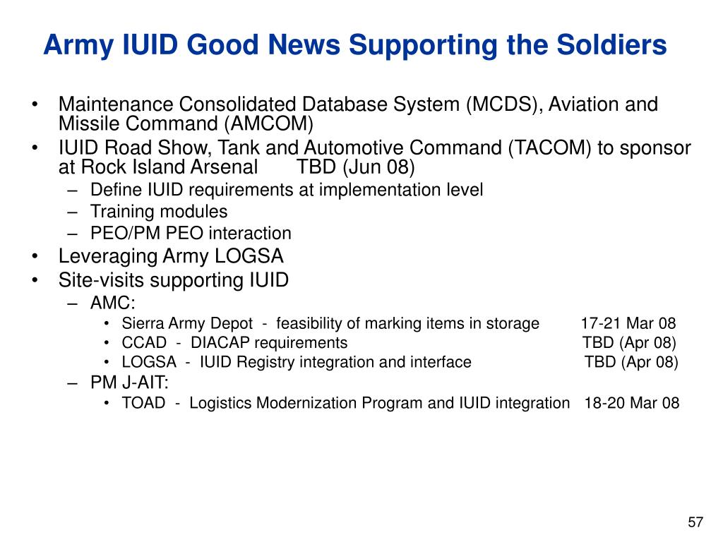 Army IUID Good News Supporting the Soldiers