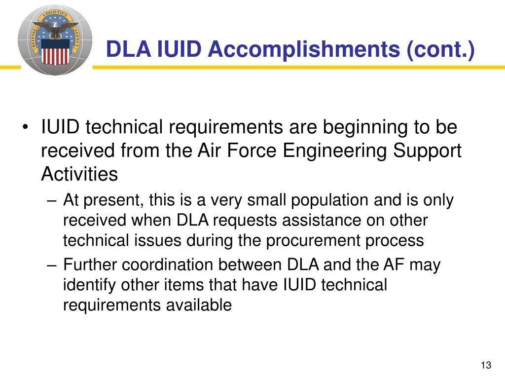 DLA IUID Accomplishments (cont.)