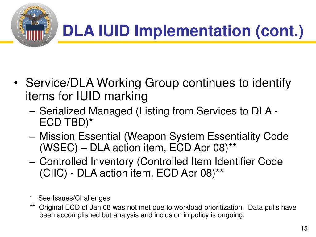 DLA IUID Implementation (cont.)