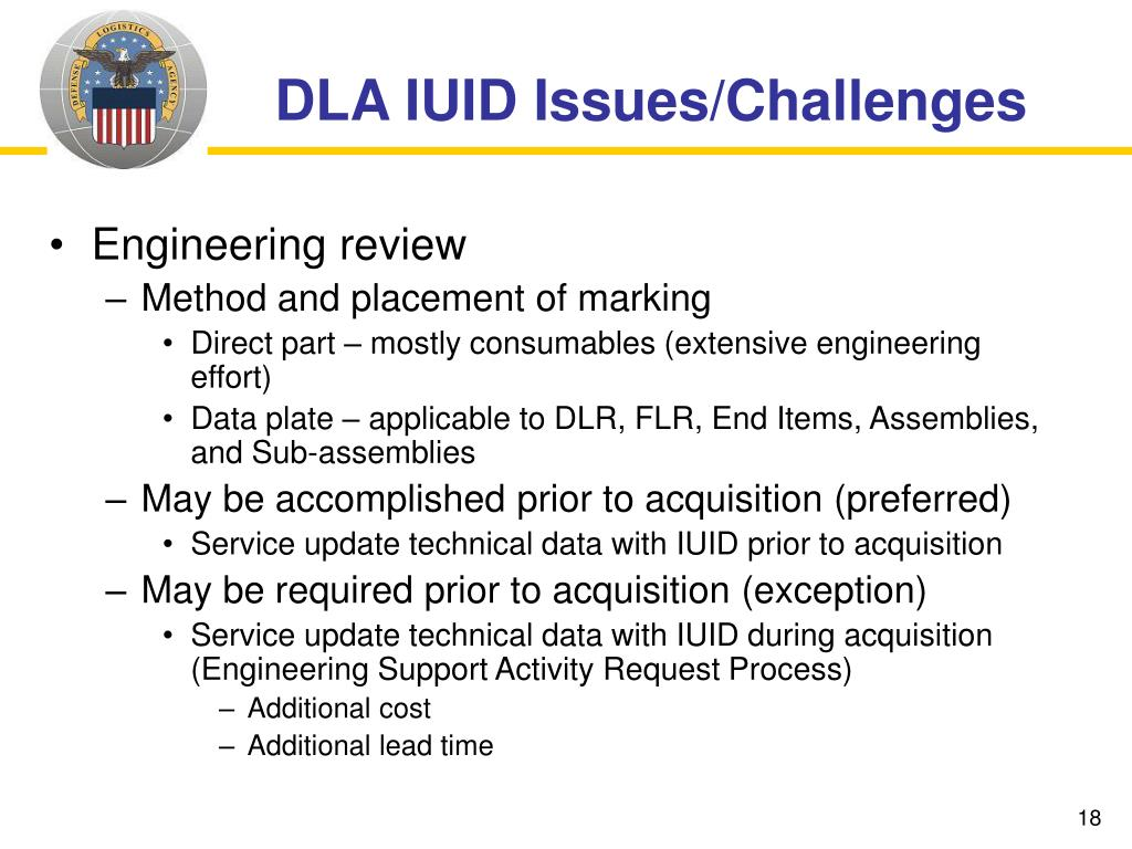 DLA IUID Issues/Challenges