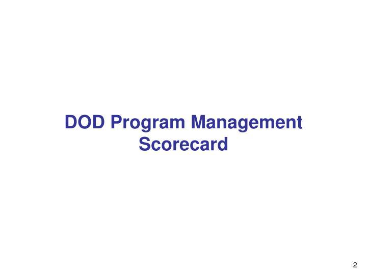 Dod program management scorecard