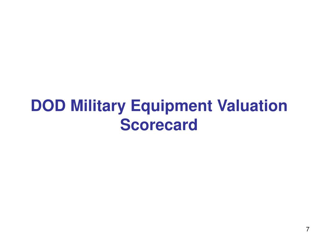 DOD Military Equipment Valuation