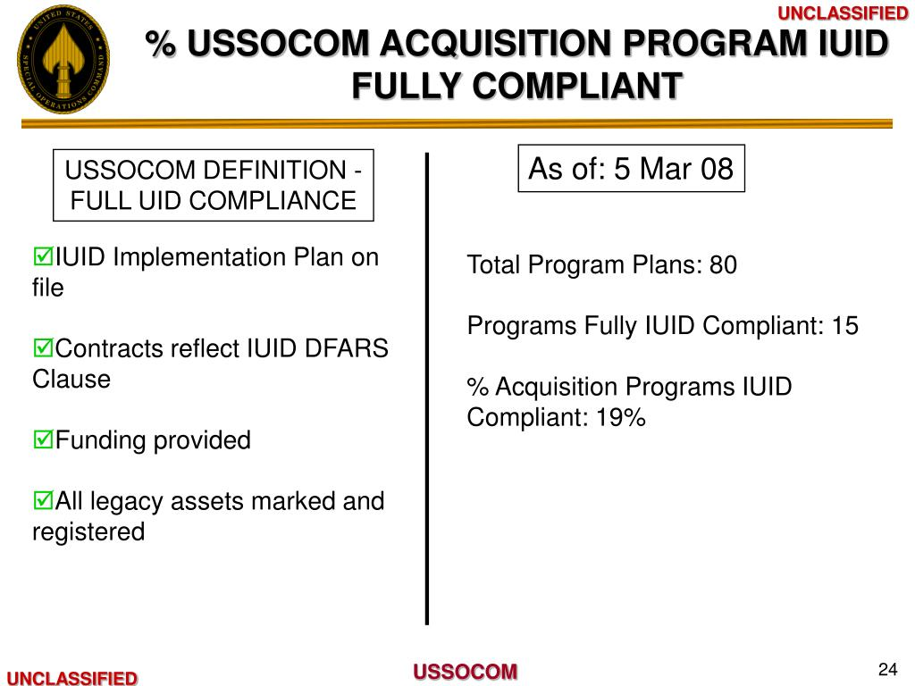 % USSOCOM ACQUISITION PROGRAM IUID FULLY COMPLIANT