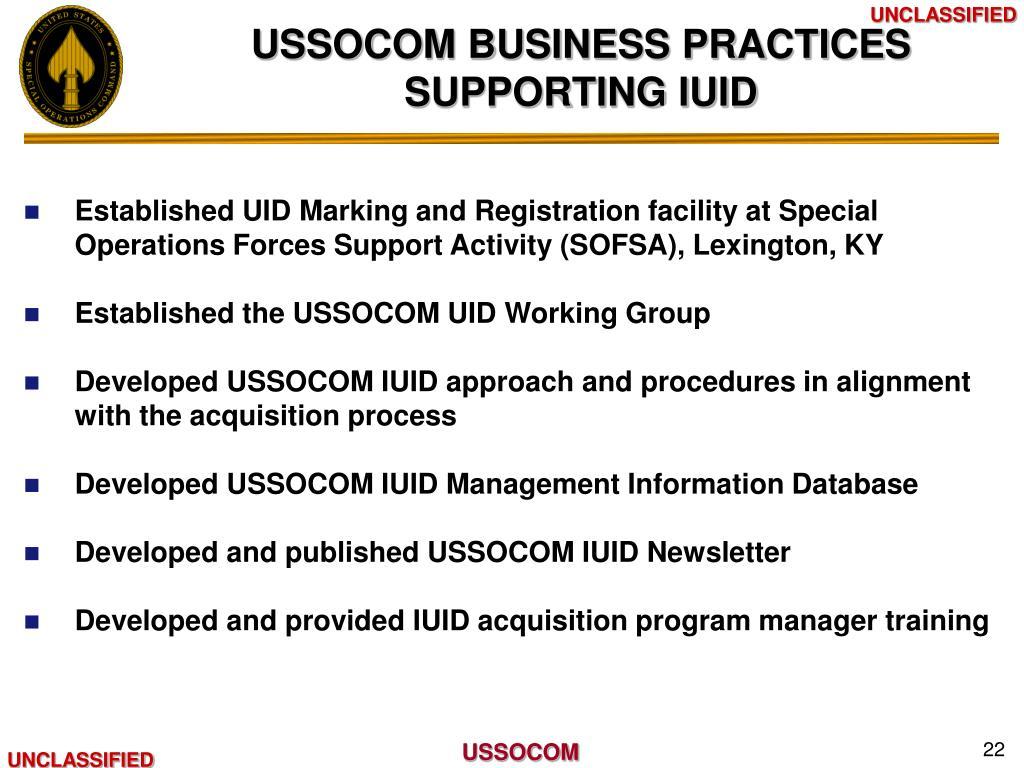 USSOCOM BUSINESS PRACTICES