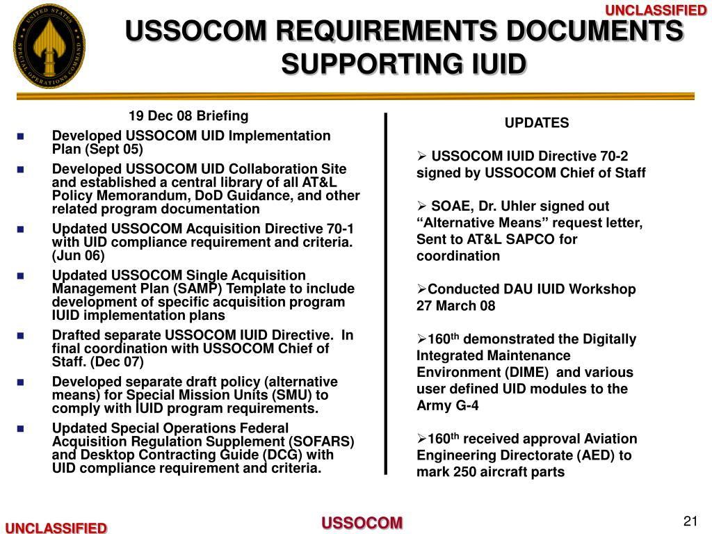 USSOCOM REQUIREMENTS DOCUMENTS