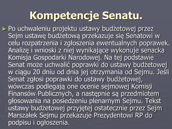 Kompetencje Senatu.