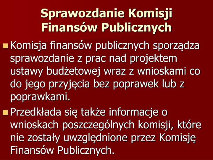 Sprawozdanie Komisji Finansów Publicznych