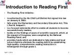 introduction to reading first