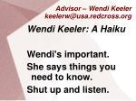advisor wendi keeler keelerw@usa redcross org