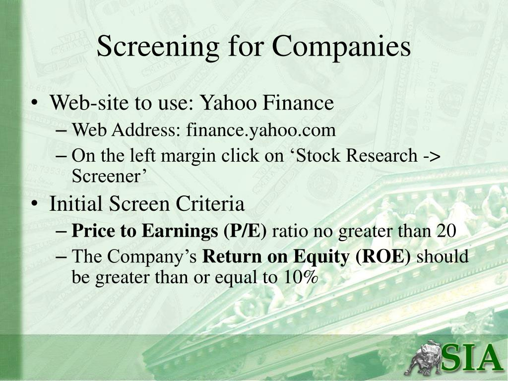 Screening for Companies