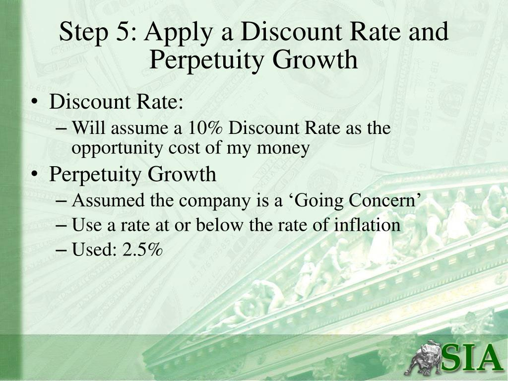 Step 5: Apply a Discount Rate and Perpetuity Growth
