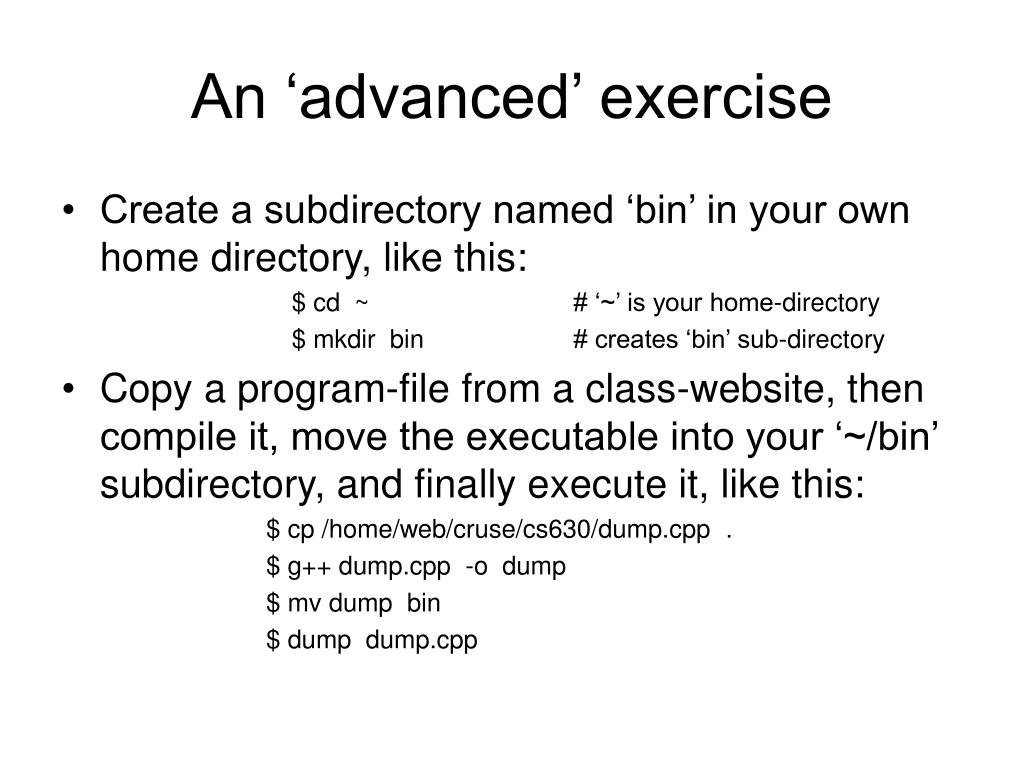 An 'advanced' exercise