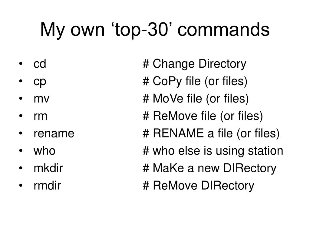 My own 'top-30' commands