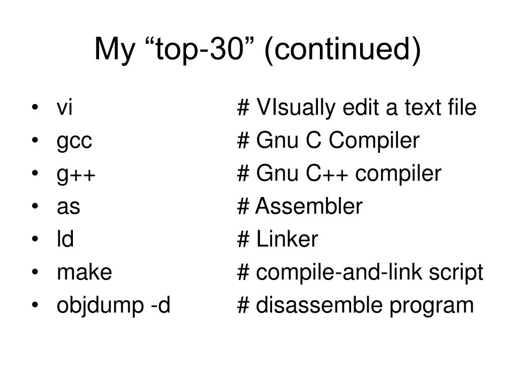 """My """"top-30"""" (continued)"""