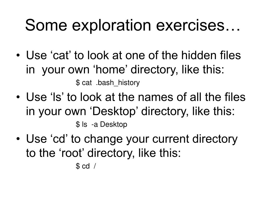 Some exploration exercises…
