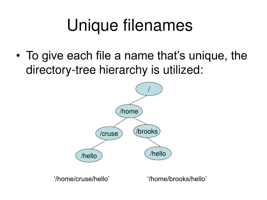 Unique filenames