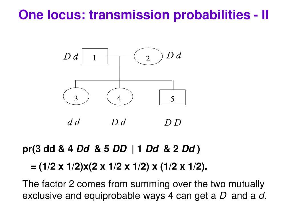One locus: transmission probabilities - II