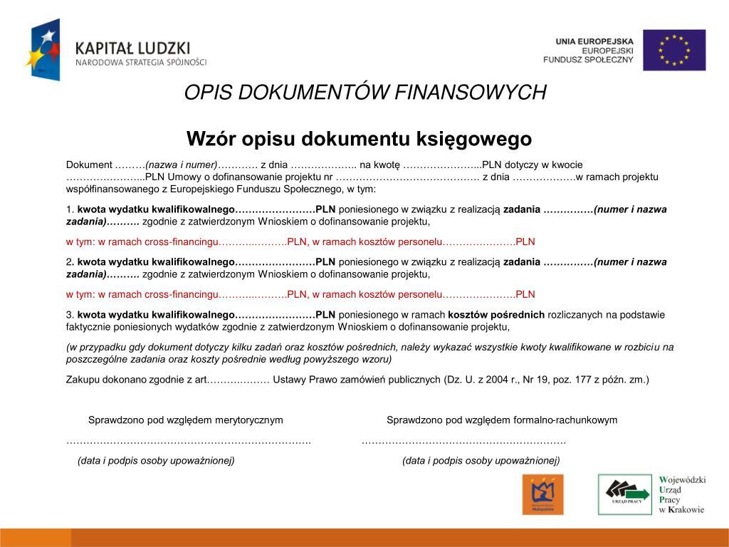 OPIS DOKUMENTÓW FINANSOWYCH