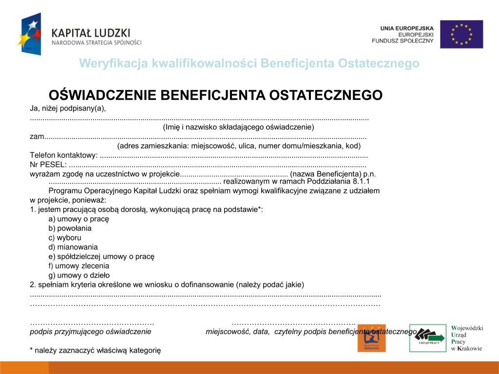 Weryfikacja kwalifikowalności Beneficjenta Ostatecznego