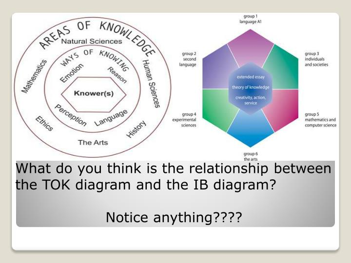 What do you think is the relationship between the TOK diagram and the IB diagram?