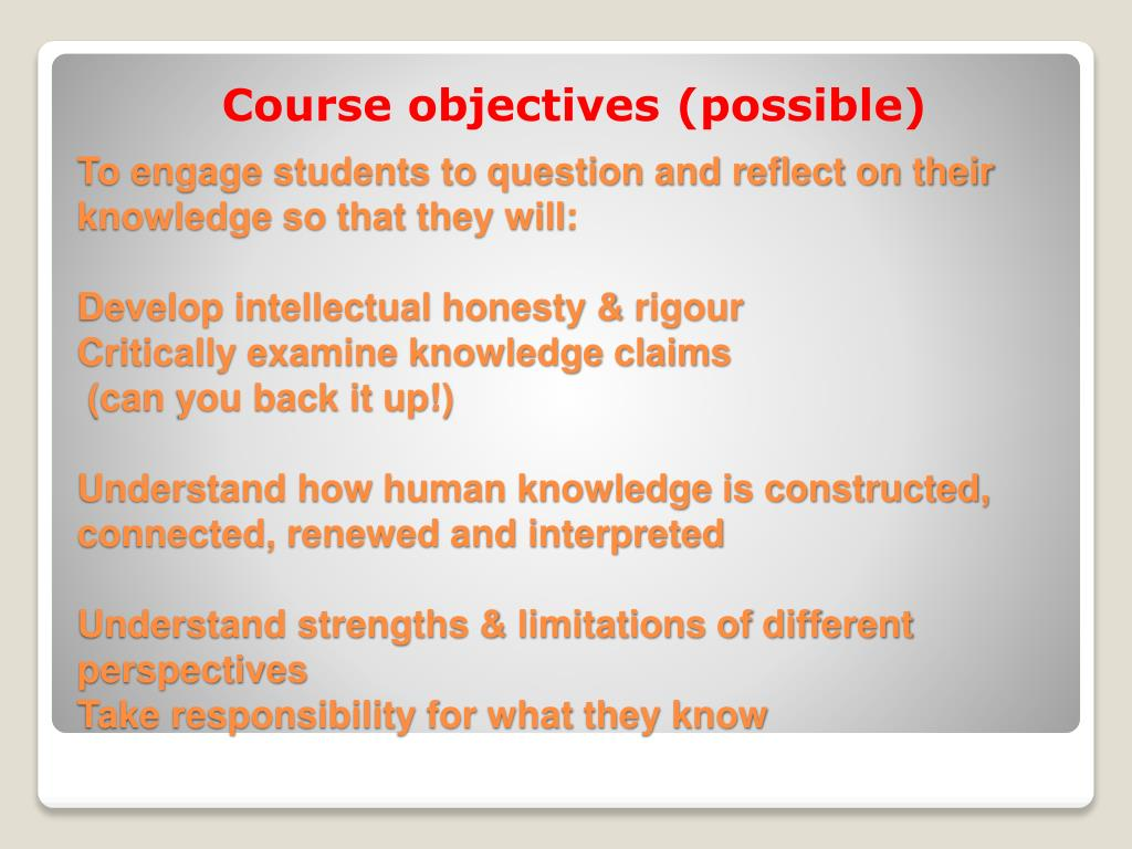 Course objectives (possible)