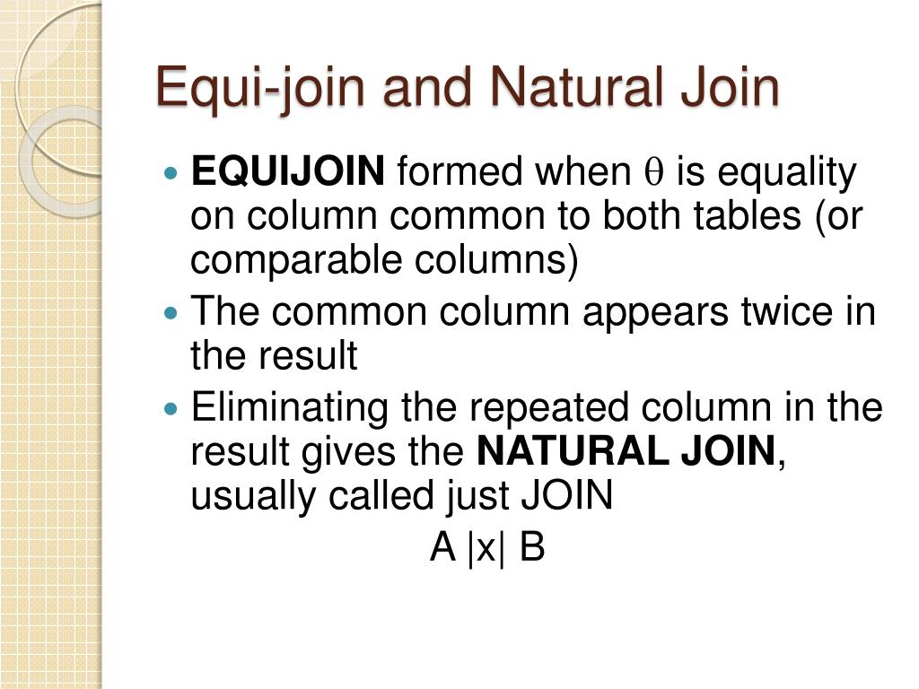 Equi-join and Natural Join