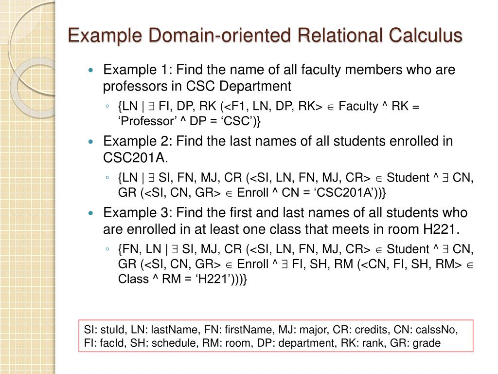 Example Domain-oriented Relational Calculus