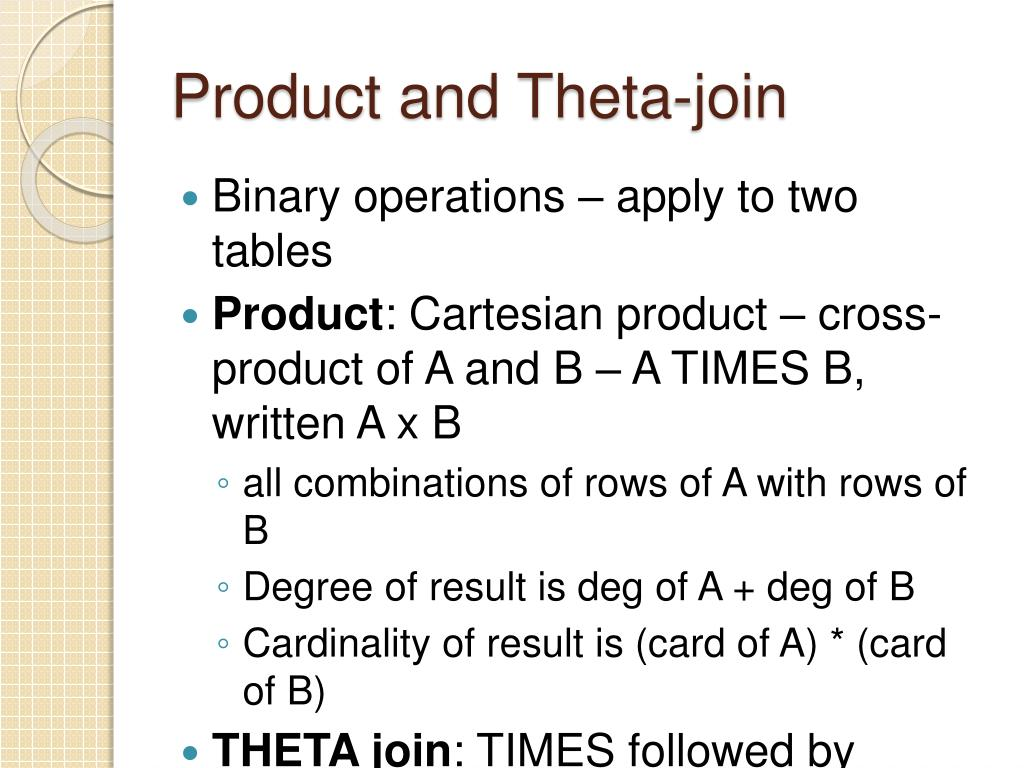 Product and Theta-join