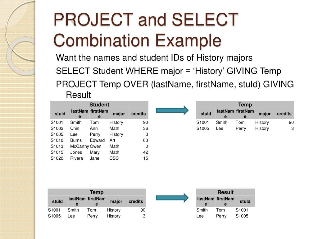 PROJECT and SELECT Combination Example