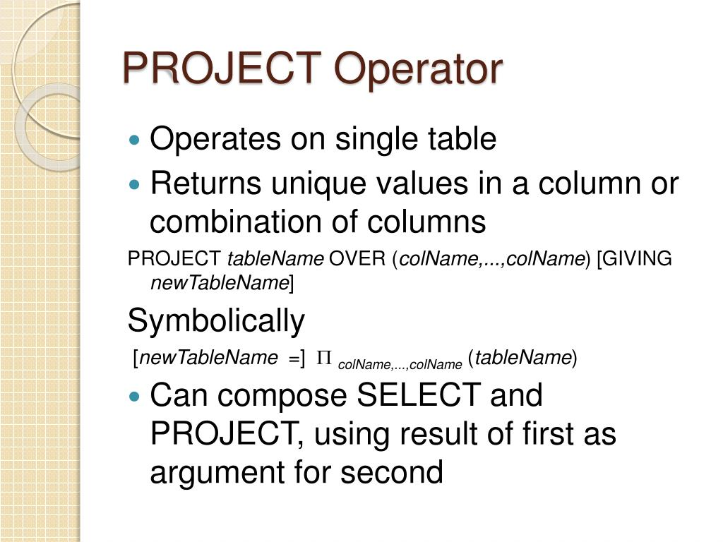 PROJECT Operator