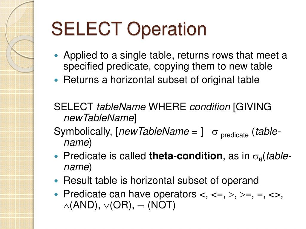 SELECT Operation