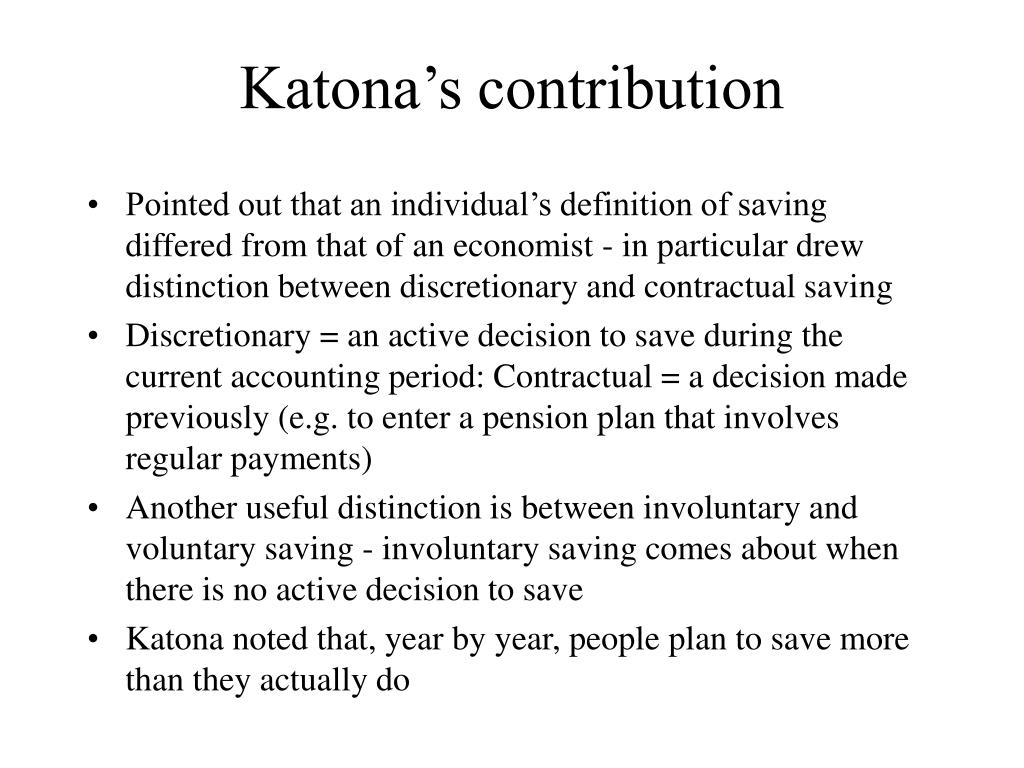 Katona's contribution