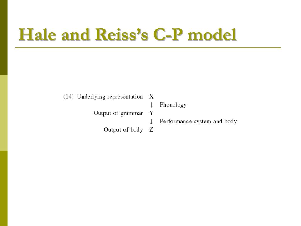 Hale and Reiss's C-P model