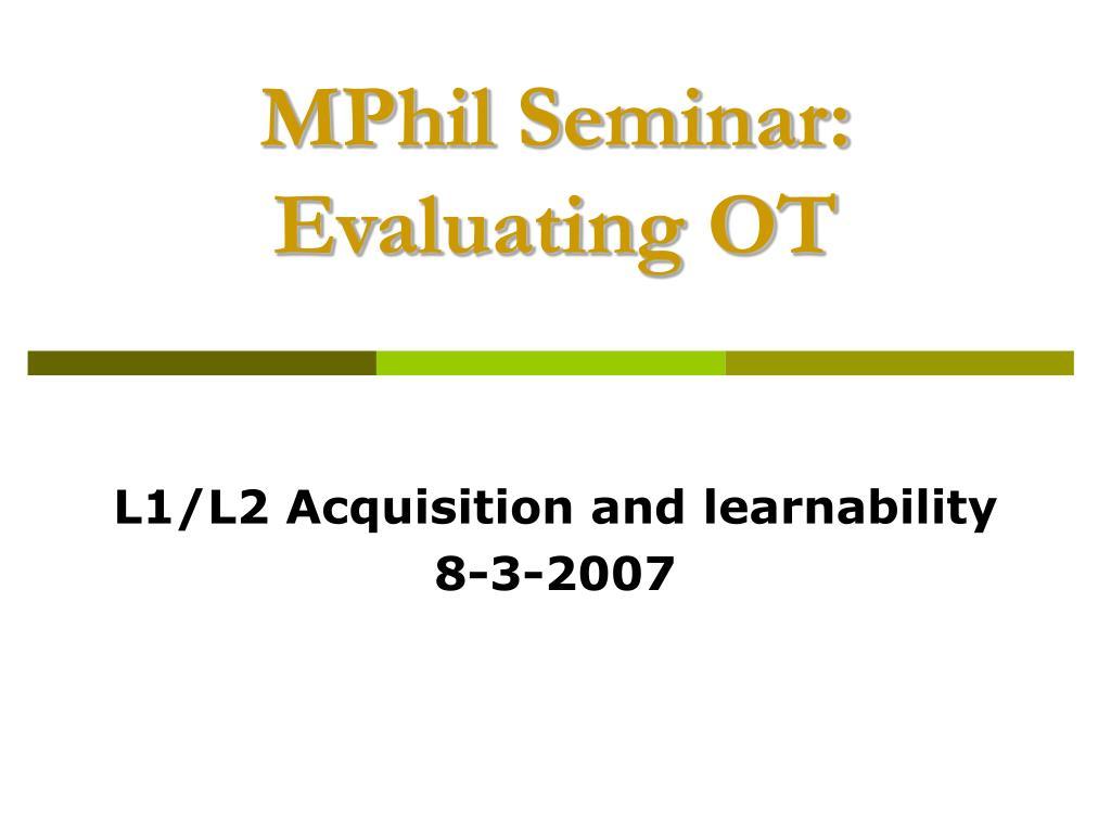 MPhil Seminar: